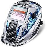Solar Automatik Schweißhelm NASUM Welding Helmet Schweißmaske für alle gängigen Schweißtechniken Schweißschild mit Kopfband Automatische Verdunkelung (Silber)