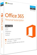 Microsoft Office 365 Personal for 1 Windows/Mac Laptop + 1 Tablet-1 User, 1 Year (Activation Key Card)