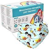Mascherine Bambini Fantasia Certificata CE, Mascherine per bambini Protezione Nasello Regolabile, Elastico Morbido Resistente