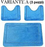 Menitashop Set TAPPETI Tappeto Bagno Antiscivolo 3 Pezzi 1 Pezzo BUONA QUALITA' Vari Colori (Variante A (3 Pezzi))