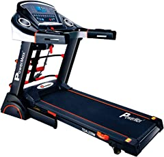 Powermax Fitness TDA-230M (2.0 Hp) Semi-Auto Lubrication, Motorized Treadmill with Massager, Dumbbells, Sit-up & Twister
