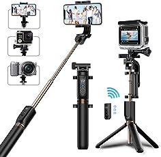 MATONE Bastone Selfie Selfie Stick Treppiedi con Bluetooth Telecomando [ Rotazione di 360°] Estensibile Selfie Stick per iPhone X / 7/6, Galaxy S8 / S9 Plus, Gopro e Altre Fotocamere Action (Nero)