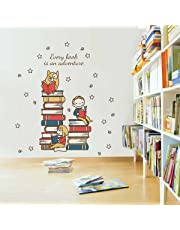 Rawpockets Every Book is an Adventure Quote' Wall Sticker (PVC Vinyl, 90 cm x 105cm, Multicolour)