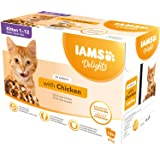 IAMS Delights Kitten Natvoer - Multipack kattenvoer met kip in saus, hoogwaardig voer voor junior katjes van 1-12 maanden, 12