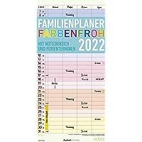 Familienplaner Farbenfroh 2022 mit 4 Spalten - Familien-Timer 22x45 cm - Offset-Papier - mit Ferienterminen - Wand…