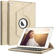IPad 9.7 bluetooth tastatur hülle, boriyuan Ultra dünn 360 Grad drehbar Ständer Schutzhülle mit magnetisch abnehmbarer drahtloser deutscher Bluetooth Tastatur für Apple iPad 9,7'' 2018 / 2017, iPad Air 1 / 2,iPad Pro 9.7,Gold