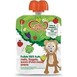 Cuore Di Frutta Frullato di Frutta Bio, Mela, Fragola, Uva Rossa e Avena - Confezioni da 90G, 12 Unità