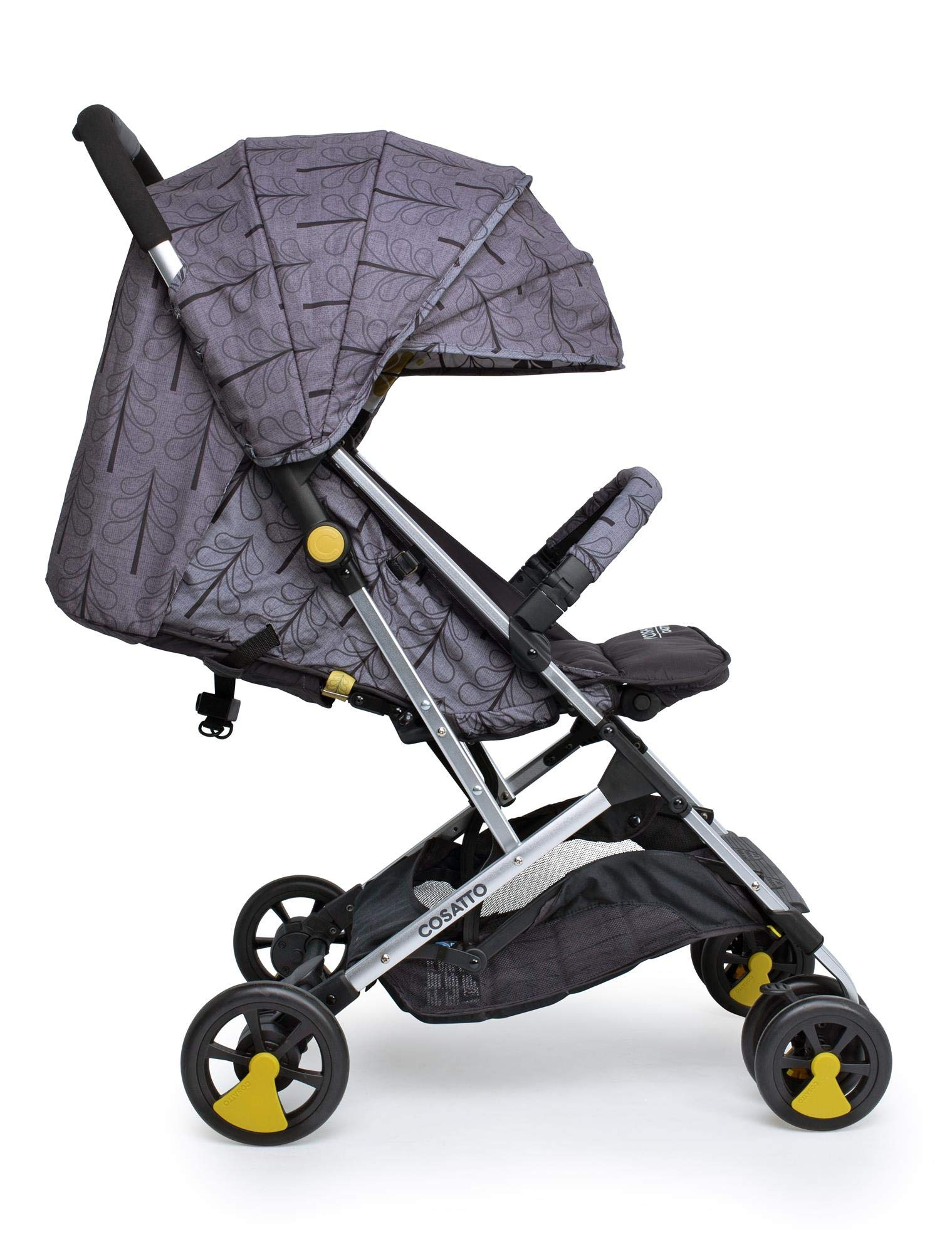 Cosatto Woosh 2 Stroller Fika Forest with raincover and Bumper bar Birth to 25kg Cosatto INCLUDES: The pushchair itself, Raincover, Bumper bar,4 year guarantee(UK and Ireland only) Suitable from birth to max weight of 25kg. Lets your toddler use it for even longer. Lightweight, sturdy aluminium frame. Newborn recline. Lightweight waterproof Ripstop fabric on seat. Lockable swivel front wheels for quick manoeuvres Roomy seat for extra comfort. Removable bumper bar for extra support. Magic bell. Front & rear suspension for a smooth ride. 1