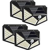 Yizhet Luz Solar Exterior, 4 Piezas 100 LED Foco Solar Exterior con Sensor de Movimiento Luces Solares Gran Ángulo 270º Ilumi
