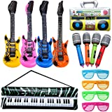 Rock and Roll Party Favors Supplies, Juego de Accesorios Inflables Rock Star, Christmas Birthday Party Gifts, Tema de Concier