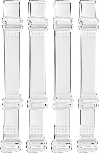 SUREMATE Reggiseno trasparente invisibile Cinturino reggiseno regolabile antiscivolo Morbido cinturino a tracolla trasparente 2 paia
