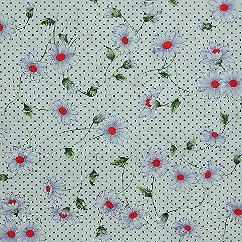 Quilting Patchwork Craft Lightweight Poplin Cotton Fabric Daisy Flower Pattern
