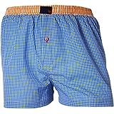 """UNABUX Men's Boxer Shorts Webboxer """"Squares"""" Blue / White"""