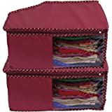 Kuber Industries 2 Pieces Non Woven Blouse Cover Set, Maroon (CTSS00959)