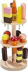 Eisständer aus Schicht- und Massivholz, Kaufladenzubehör mit buntem Eis in 15 verschiedenen Sorten, perfekte Ergänzung zum Kaufladen/ Kaufmannsladen und Kinderküche