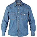 Duke Mens Western Authentic Denim Shirt Stonewash Blue XXLarge
