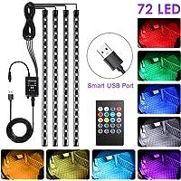 bedee Led Auto Interni Kit,Striscia Led Neon Auto Interni,RGB SMD 72 LED Luci con Telecomando Senza Fili - USB Porta…