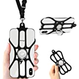ROCONTRIP Phone Lanyard Silikonhülle Handy-Trageriemen mit verstellbarem Trageriemen und abnehmbarem Fingerring Ständer für 4