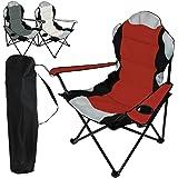 Linxor France ® Chaise de camping pliable + Sac de transport - 3 Coloris - Norme CE - Rouge