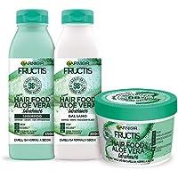Garnier Fructis Hair Food Aloe Idratante, Kit con Shampoo, Balsamo e Maschera per Capelli Normali, 98% di Ingredienti di…