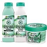 Garnier Fructis Hair Food Aloe Idratante, Kit con Shampoo, Balsamo e Maschera per Capelli Normali, 98% di Ingredienti di Orig