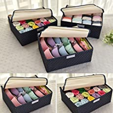 Egab Bamboo Foldable Organizer Box, Multicolour - Pack of 3