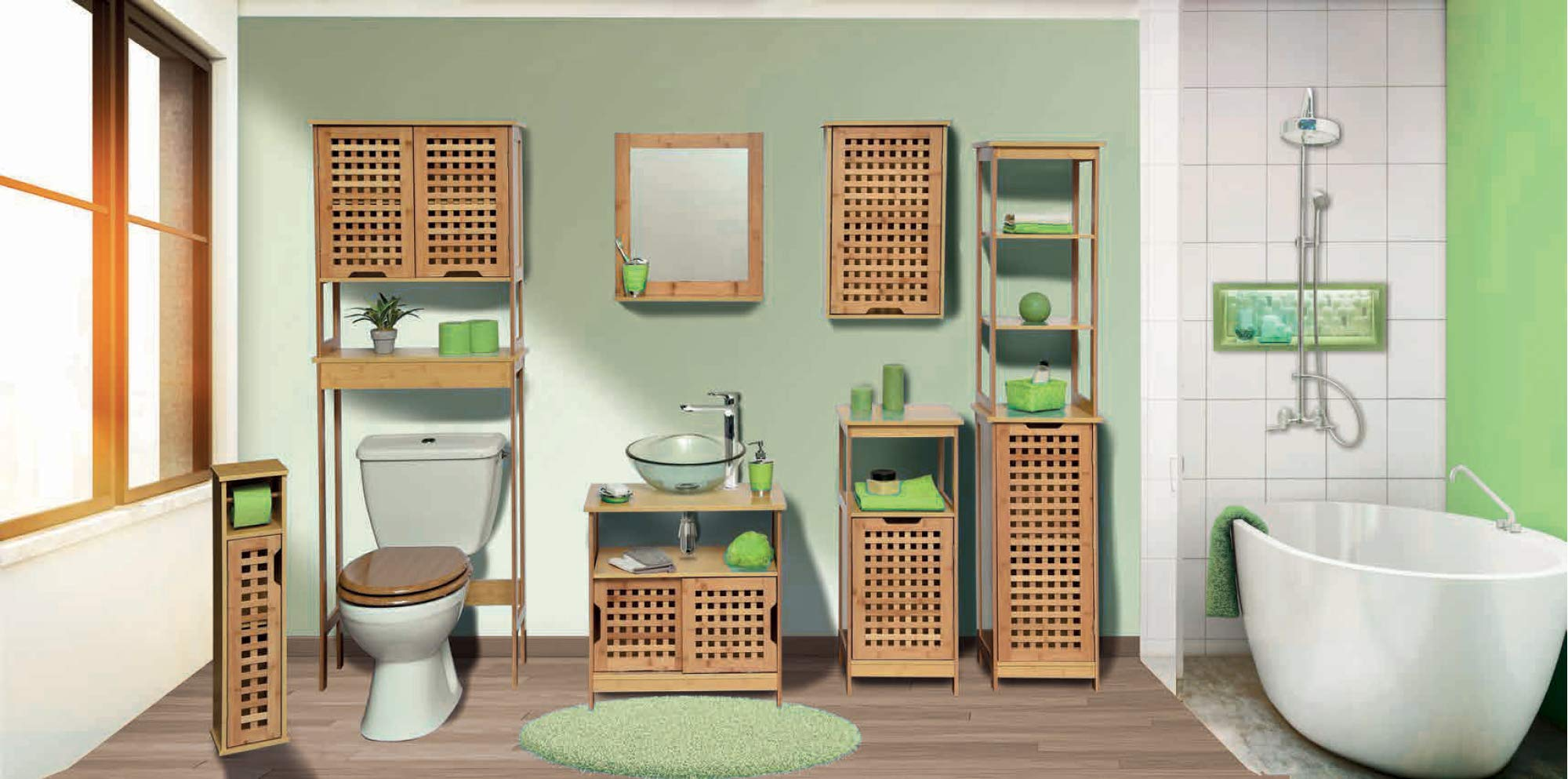 TENDANCE Mueble Baño Columna KOH Lanta con 1 Estantería y 1 Puerta– Armario Baño Bambú 36,5 x 83 x 30 cm