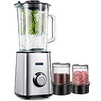 Smoothie Maker, Standmixer, AICOOK Mixer, 1,5 Liter Glasbehälter, Mahlbecher und Fleischwolf Glasbecher, Edelstahl, Silber