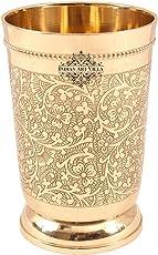 IndianArtVilla Brass Glass Tumbler, Embossed Design
