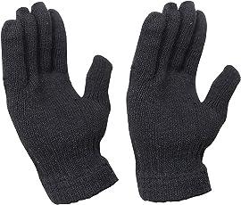 Krystle Boy's Woolen Hand Gloves Stretchable Warm Winter Biker Mittens (KRY-BLK-B-GLOVES, Black, Free Size)