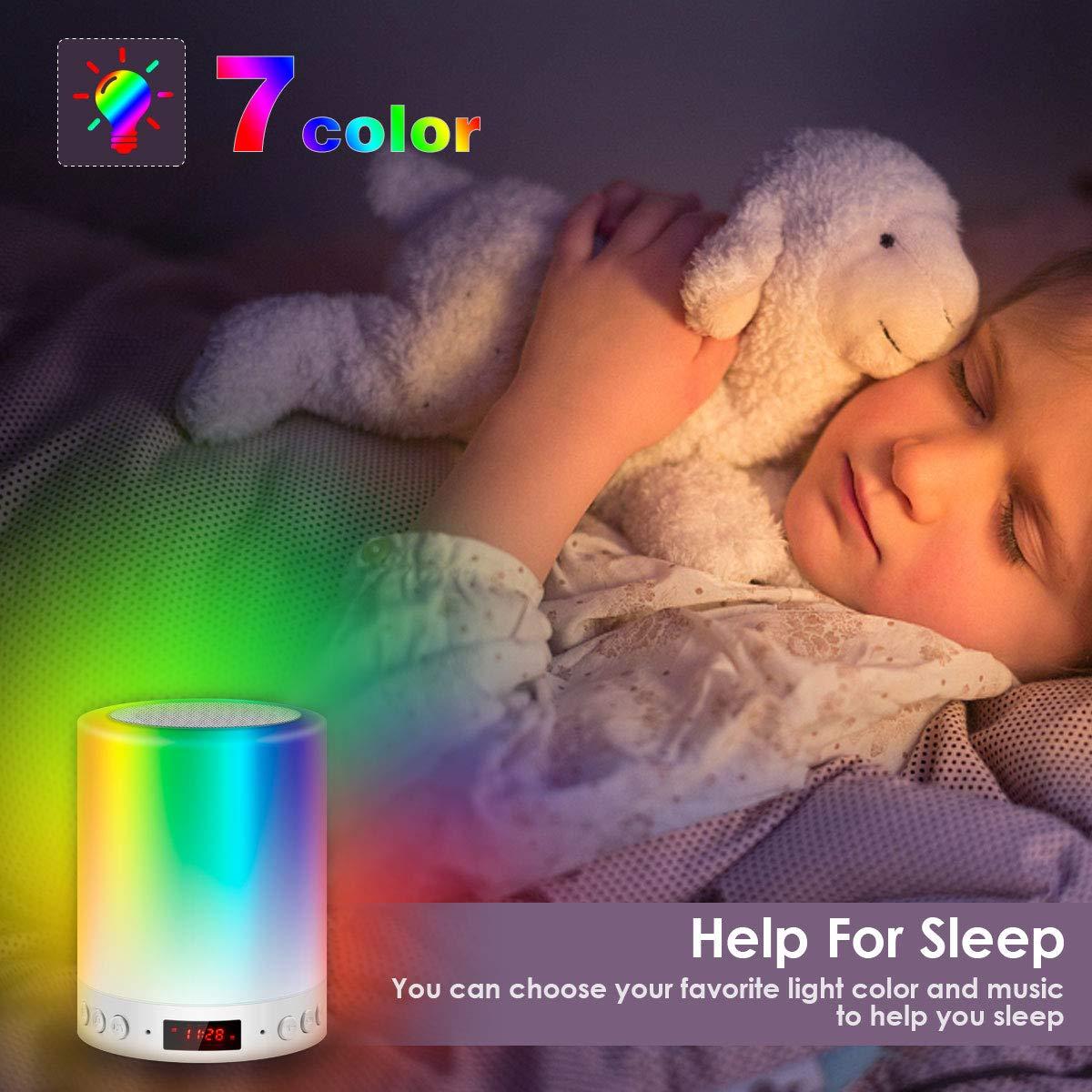 DOOK Lampe de Chevet Tacile Rechargeable Portable,Lampe de Table Enceinte Bluetooth Musique USB FM Radio R/éveil Num/érique Lumi/ère LED Multicolore Cadeau Hommes//Femmes//Enfants