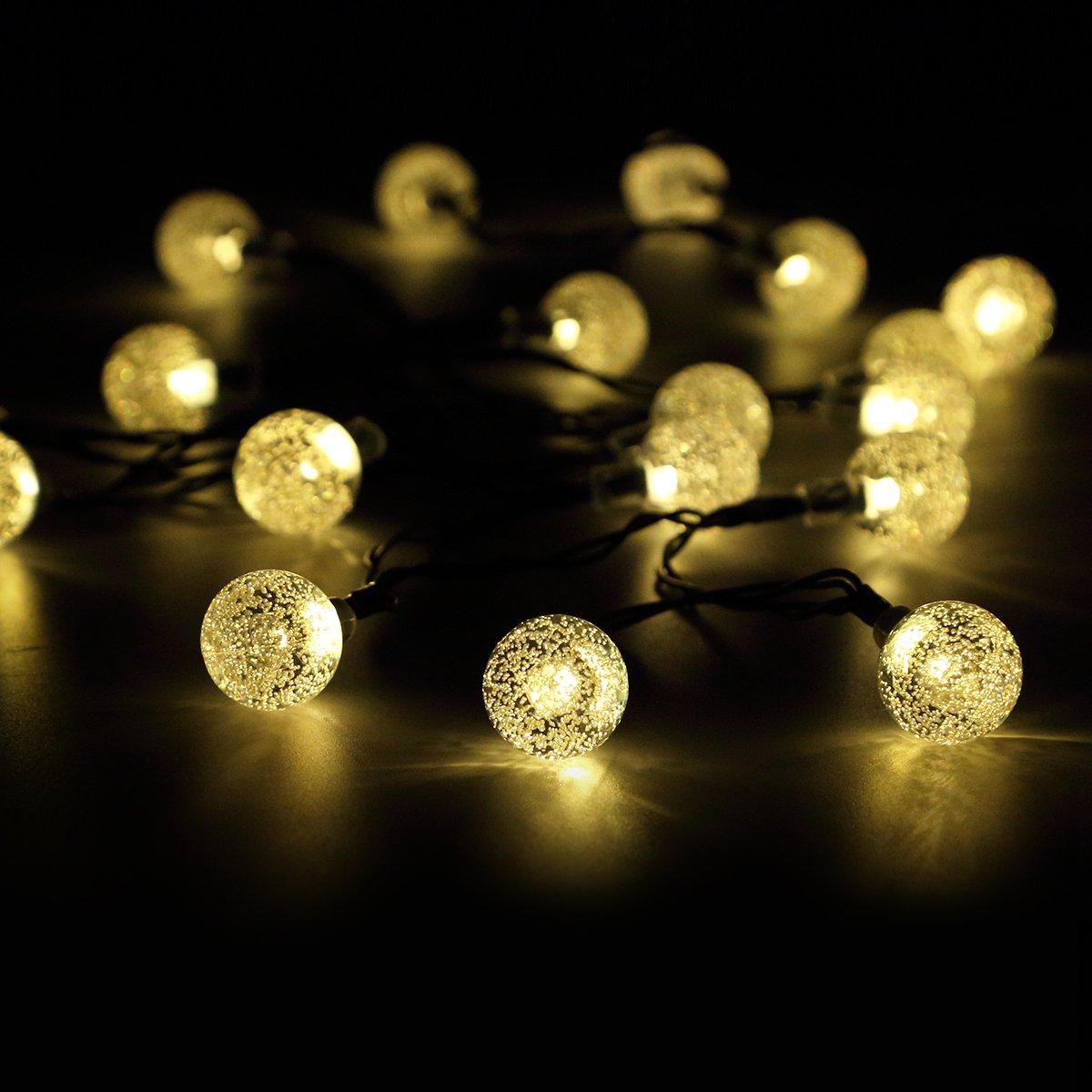 Warm White Solar Garden Fairy Lights: Solar String Garden Fairy Lights 50 LED Waterproof 22ft