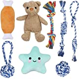 Focuspet Puppy Toys, 8 Pcs Dog Chew Rope Toys - Squeaky Plush Washable Puppy Toy Teeth Cleaning, Puppy Toys from 8 Weeks…