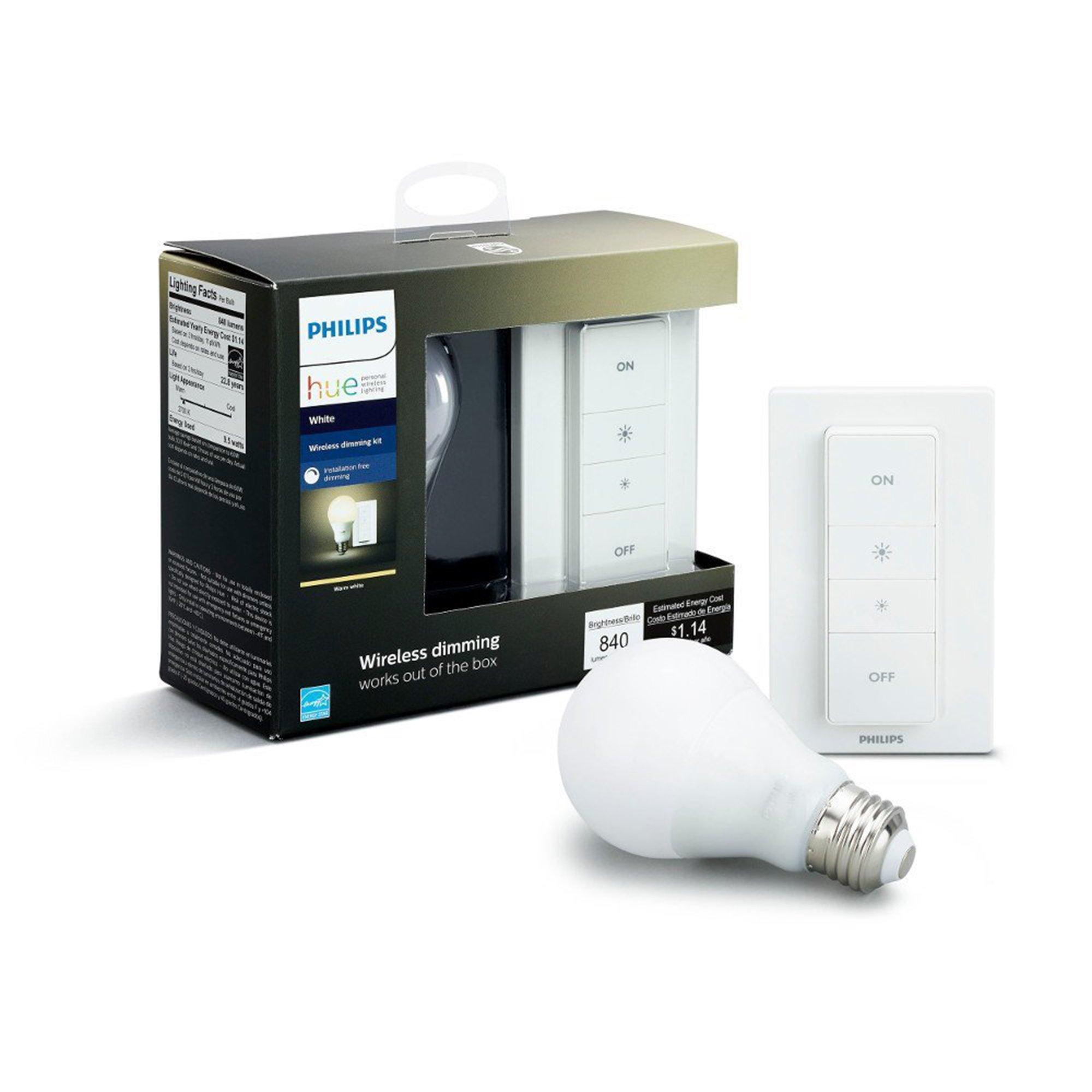 Philips Hue Dimming Kit  White avec 1XE27 9,5W [Interrupteur avec Variateur Inclus] – Fonctionne avec Alexa