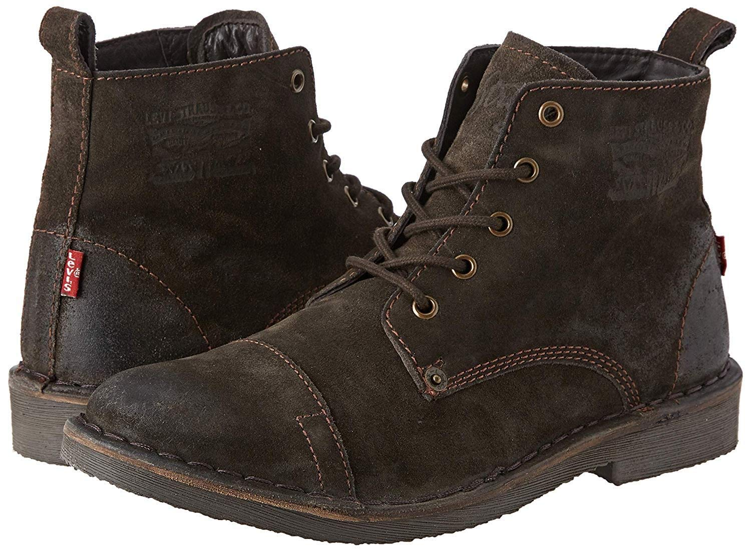 Levi's Track Dark Brown Mens Suede Mid Ankle Boots