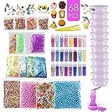 ESSENSON DIY Slime Supplies Kit für Kinder Schleim Selber Machen mit Unicorn Charms, Glitter Sheet Jars, Schaumkugeln, Fruchtscheiben, Goldfischglasperlen, Tools und Container (kein Schleim)