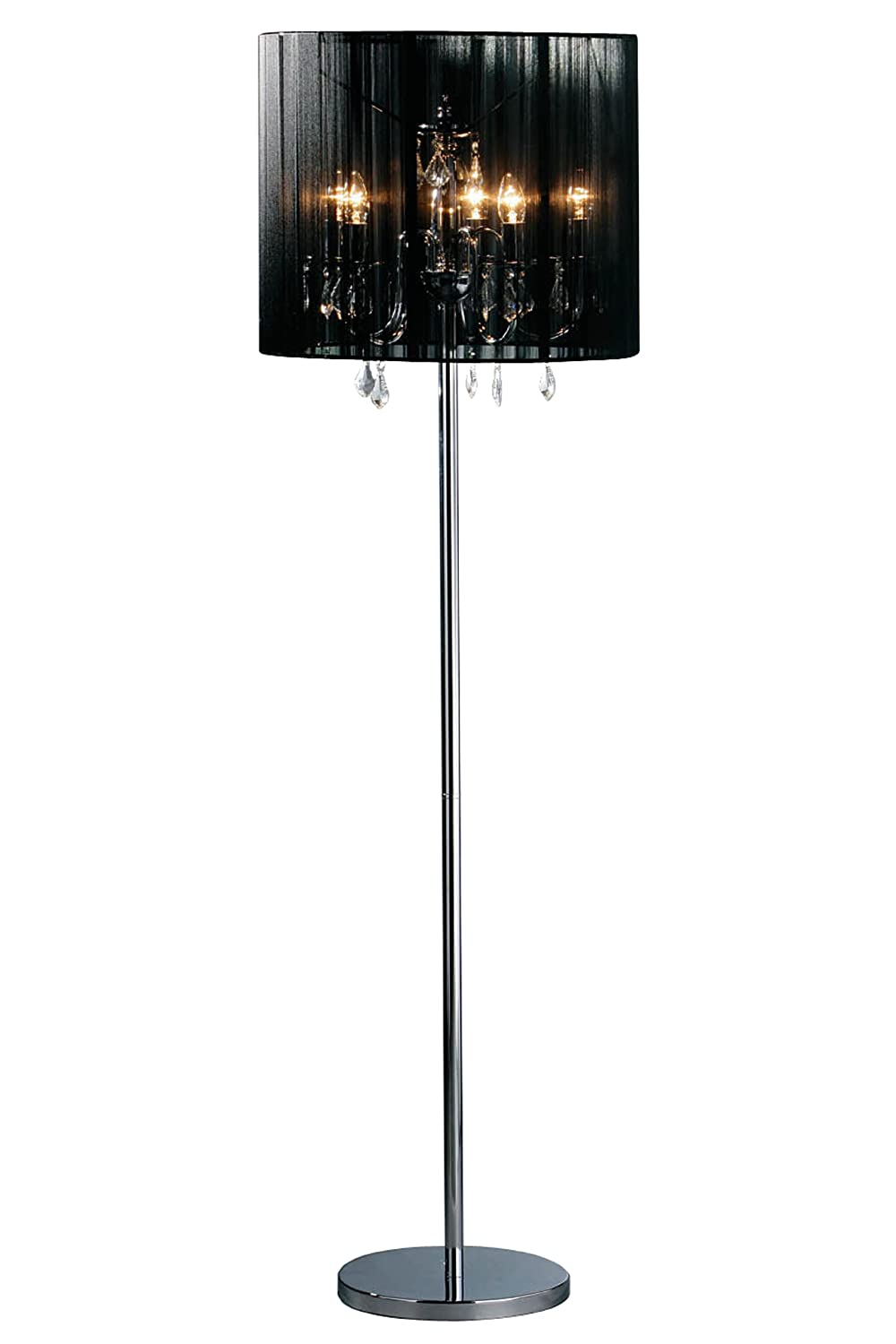 Premier Housewares Chandelier Table Lamp With Fabric Shade   Black:  Amazon.co.uk: Lighting
