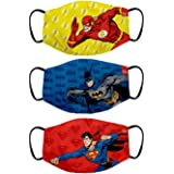 Bon Organik Batman Superman Flash (OFFICIAL MERCHANDISE) 2 Ply Printed Cotton Cloth Face Mask Bundle For Kids (Set Of 3)