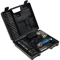 Mini Bohrmaschine Gravur & Polier Set 63-teilig 12.000UpM 60x Schleifwerkzeuge, Bohrer, Poliermatten mit 230V auf 12V…