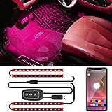 Trongle LED Auto Interni, 48 Luci Led Auto Con Controllo Tramite App , 4 Pezzi Impermeabile Striscia Led Auto Multi Fai Da Te