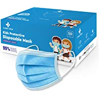 Careview KIDS 4 Ply Disposable Surgical Face Masks Pack of 50, Blue Color, PFE>95%,BFE>99%, SITRA, BIS (ISI), and CE…