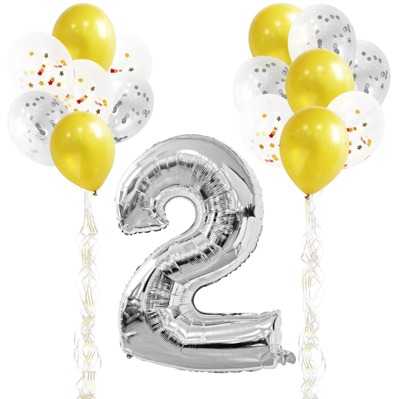 89fce88bc9c4 KUNGYO Decoraciones de Fiesta de Cumpleaños para Adultos y Niños, Plata