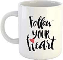 "iKraft Love Quote Coffee Mug-""Follow Your Heart"" Printed Coffee Mug Gift for Couple, Girlfriend, Boyfriend"