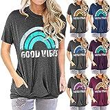 T-Shirt Donna Top Donna Dolce Elegante Chic Arcobaleno Stampa Girocollo Manica Corta Vacanze Estive Moda Casual Allentato Com
