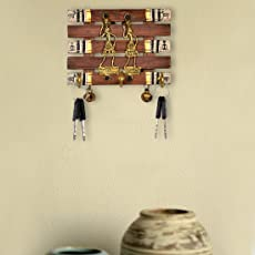 ExclusiveLane Dhokra and Warli Handpainted Key Holder with Ghungroo Brown
