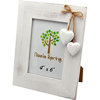Nicola Spring White Wooden Photo Picture Frame With White Hearts - 4 ...