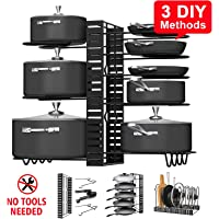Callas 8 Tiers Pots and Pans Organizer, Adjustable Pot Lid Holders & Pan Rack for Kitchen Counter and Cabinet, Lid Organizer for Pots and Pans with 3 DIY Methods