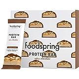 foodspring Protein Bar Extra Chocolate, Crunchy Peanut, 12 x 65g, une véritable barre chocolatée avec 90% de sucre en…