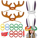 Garberiel 4 PCS Two Ring Toss Carnival Game Combo Set Bunny Inflatable Hat for Kids Teens Students Outdoor Practical Party Ga