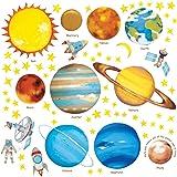 DECOWALL DS-8007 Planetas en el Espacio (English Ver.) (Pequeña) Vinilo Pegatinas Decorativas Adhesiva Pared Dormitorio Saln